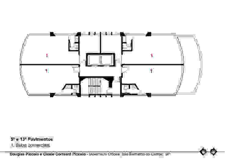 PLANTA 5º E 13º PAVIMENTOS Edifícios comerciais modernos por Douglas Piccolo Arquitetura e Planejamento Visual LTDA. Moderno