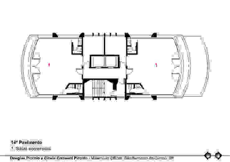 PLANTA 14º PAVIMENTO Edifícios comerciais modernos por Douglas Piccolo Arquitetura e Planejamento Visual LTDA. Moderno