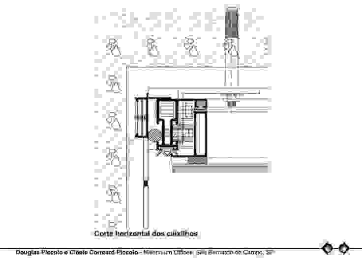 CORTE HORIZONTAL DOS CAIXILHOS Edifícios comerciais modernos por Douglas Piccolo Arquitetura e Planejamento Visual LTDA. Moderno
