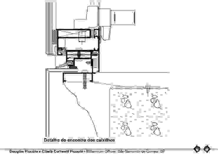 DETALHE DO ENCONTRO DOS CAIXILHOS Edifícios comerciais modernos por Douglas Piccolo Arquitetura e Planejamento Visual LTDA. Moderno