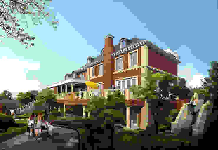 3D Exterior Rendering view: modern  by Yantram Architectural Design Studio, Modern