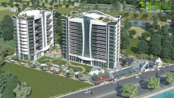 3D Residential Birdview Exterior Rendering: modern  by Yantram Architectural Design Studio, Modern