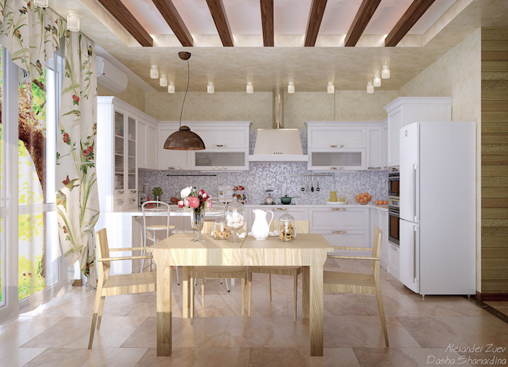 """Дизайн кухни в стиле """"Прованс"""" в коттеджном поселке """"Краснодарский"""" Кухня в стиле кантри от Студия интерьерного дизайна happy.design Кантри"""