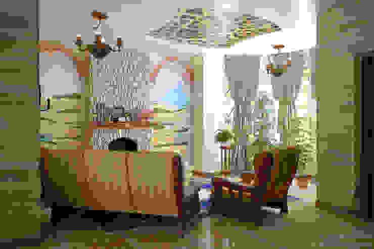 """Дизайн гостиной в альпийском стиле в коттеджном поселке """"Краснодарский"""" Гостиные в эклектичном стиле от Студия интерьерного дизайна happy.design Эклектичный"""