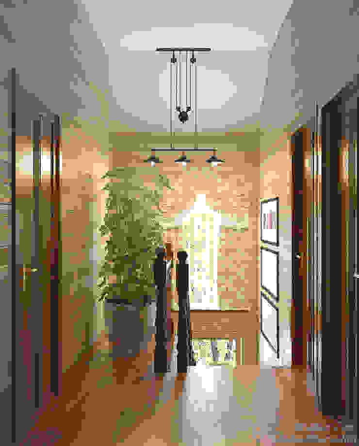 """Дизайн лестницы в альпийском стиле в коттеджном поселке """"Краснодарский"""" Коридор, прихожая и лестница в стиле кантри от Студия интерьерного дизайна happy.design Кантри"""
