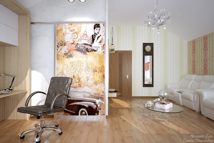"""Дизайн кабинета в современном стиле в коттеджном поселке """"Краснодарский"""" Рабочий кабинет в стиле модерн от Студия интерьерного дизайна happy.design Модерн"""