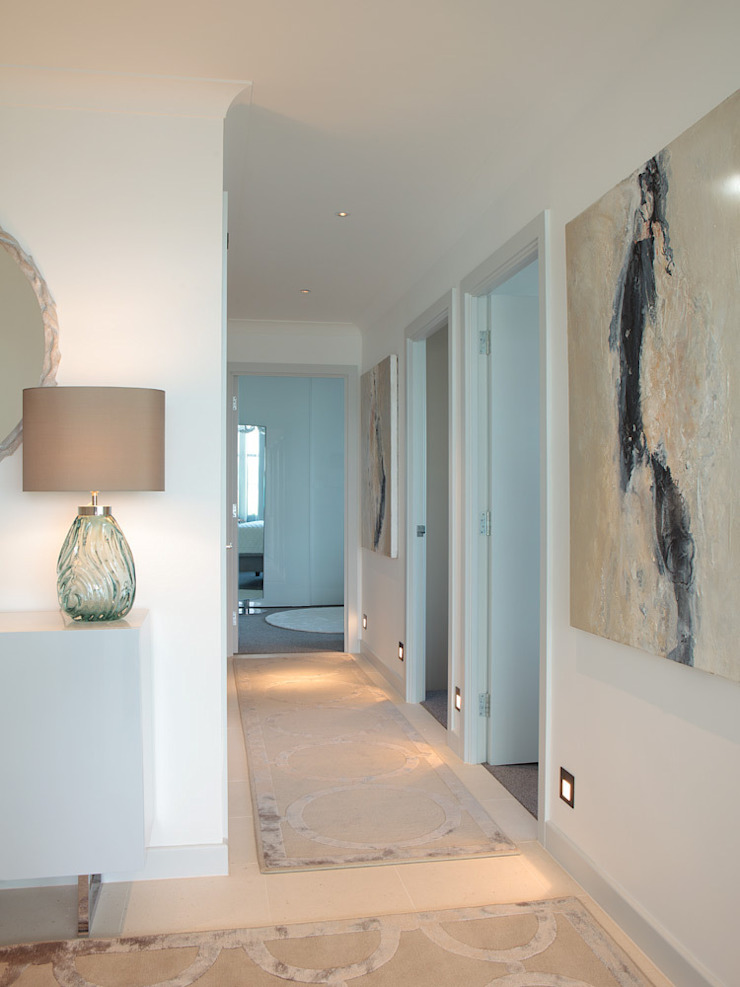 London Docklands penthouse Modern corridor, hallway & stairs by At Home Interior Design Consultants Cambridge Modern