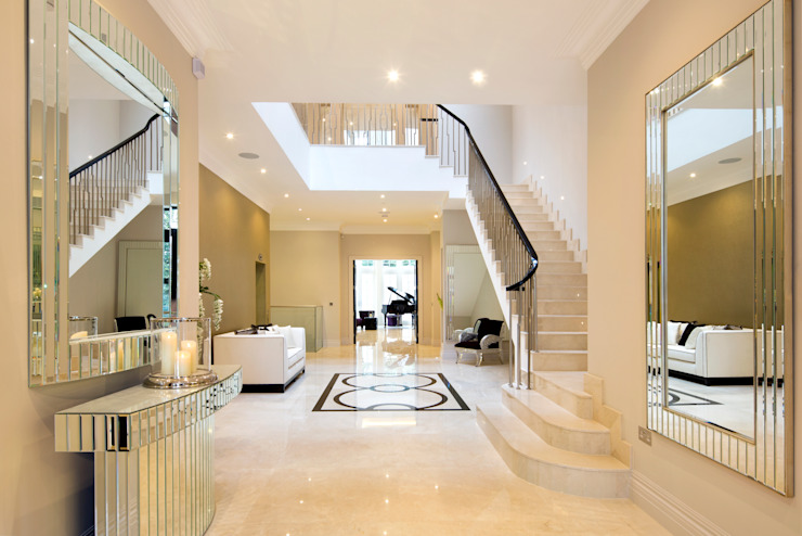 Fairways at the Bishops Avenue Celia Sawyer Luxury Interiors Modern corridor, hallway & stairs