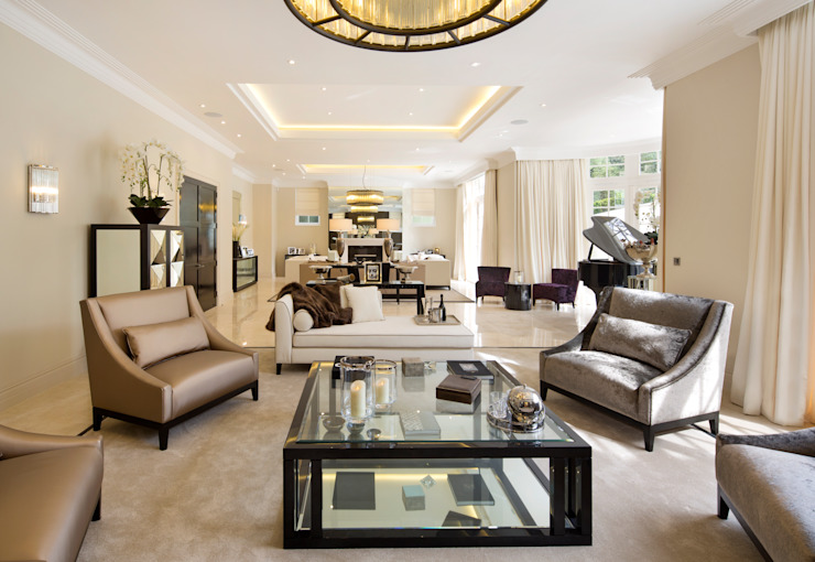 Fairways at the Bishops Avenue Salas de estilo moderno de Celia Sawyer Luxury Interiors Moderno