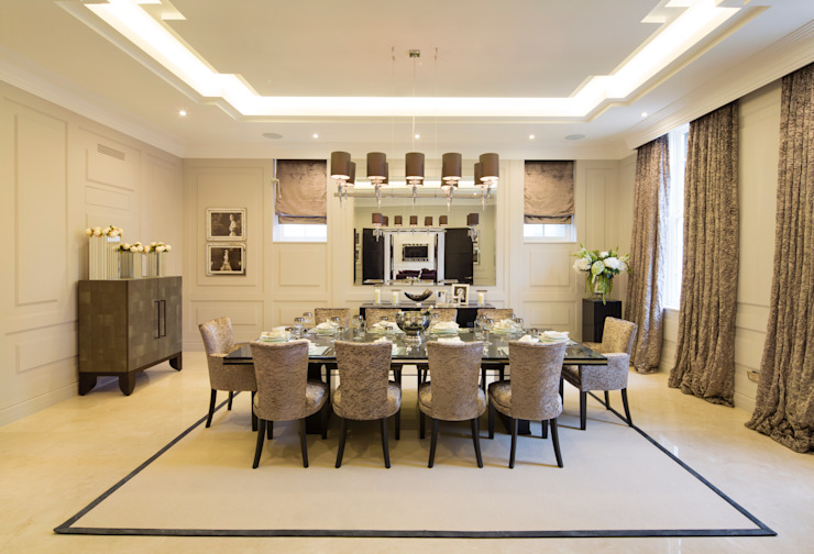 Fairways at the Bishops Avenue:  Dining room by Celia Sawyer Luxury Interiors