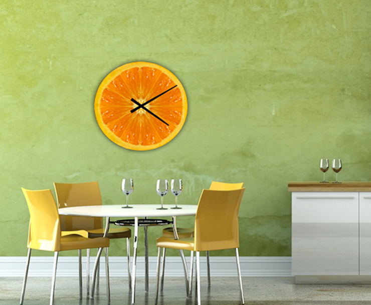 reloj pared diseño naranja de GRECAR IDEA SL Moderno