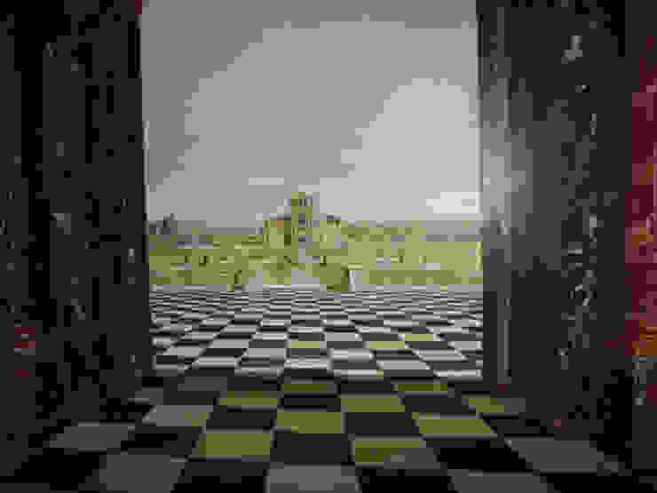 Chateau peint en trompe-l'oeil pour décor intérieur par THIERRY HERR