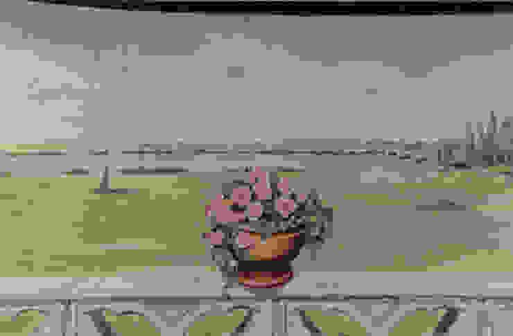 Détail du trompe-l'oeil peint sur toile marouflée par THIERRY HERR