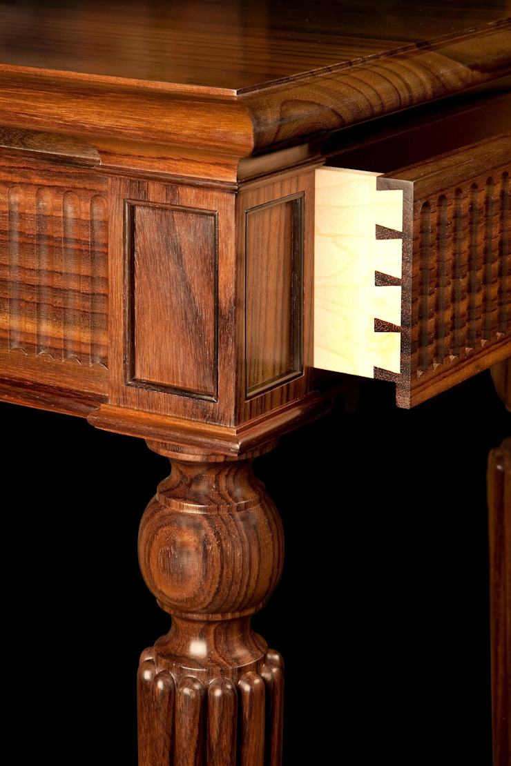 Drawer detail of Rosewood console table by Simon Harrison Furniture