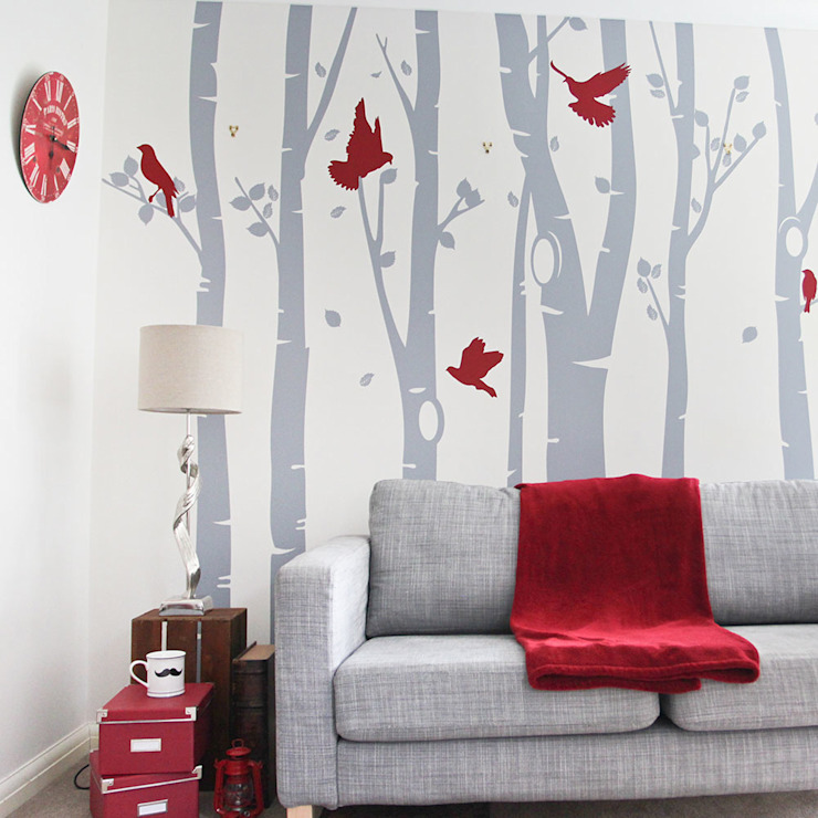 Birch tree forest wall sticker with red birds de Vinyl Impression Moderno