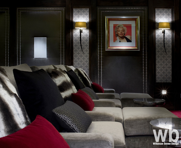 Basement Home Cinema Eclectic style media room by Wilkinson Beven Design Eclectic