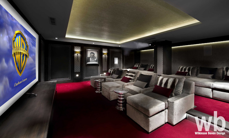 Basement Home Cinema:  Media room by Wilkinson Beven Design