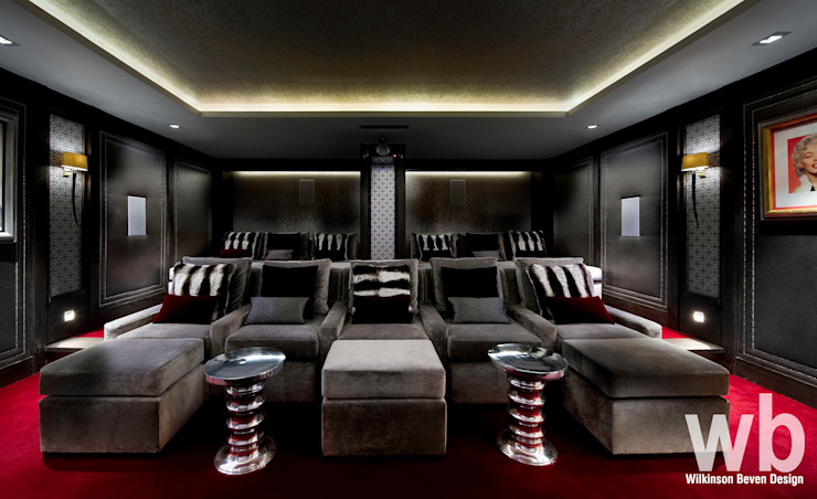 Basement Home Cinema Eclectic style media room by Wilkinson Beven Design Eclectic