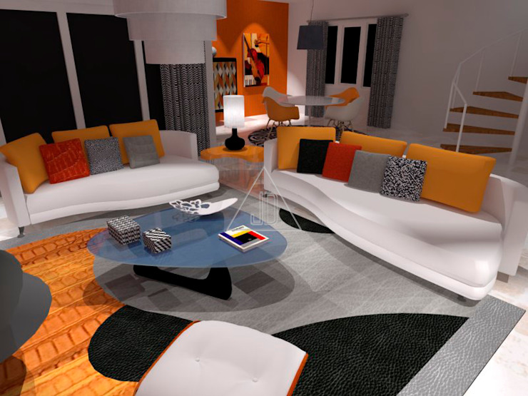 Estilo retro de diseño / Retro style design Salones de estilo ecléctico de Julia Design Ecléctico