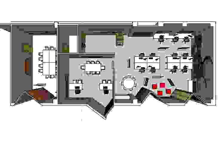 Planta con distribución del proyecto Oficinas y tiendas de estilo industrial de MUMARQ ARQUITECTURA E INTERIORISMO Industrial