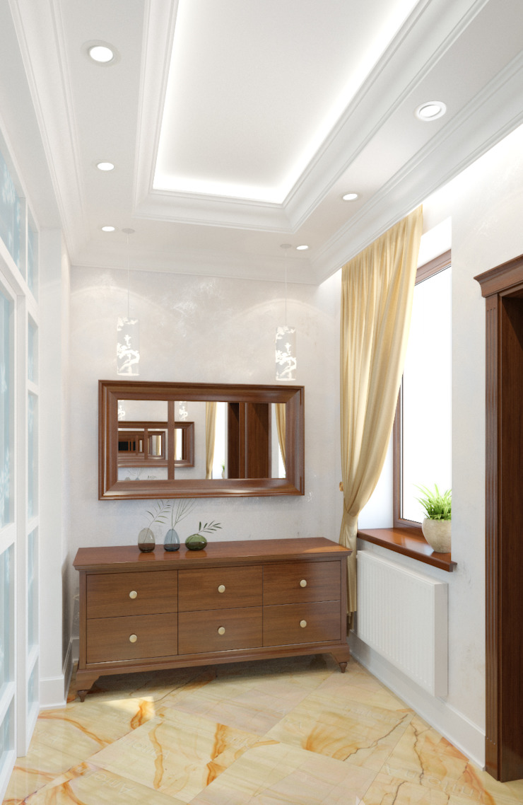 Дом в Королеве Коридор, прихожая и лестница в классическом стиле от kristinavoloshina Классический