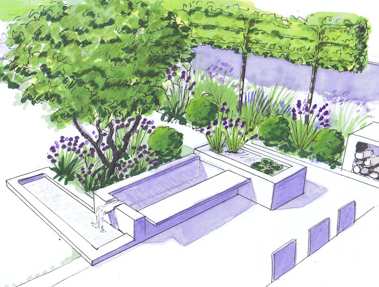 Water feature by the dining area Modern garden by Bea Ray Garden Design Ltd Modern