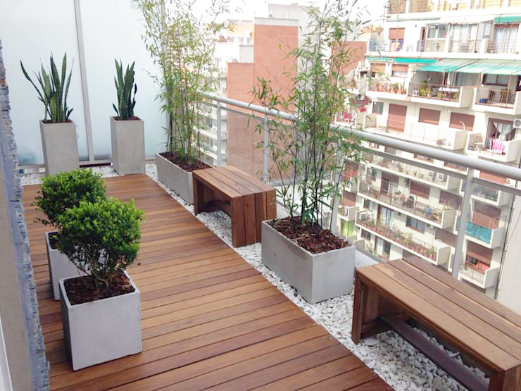 Modern balcony, veranda & terrace by Estudio Nicolas Pierry: Diseño en Arquitectura de Paisajes & Jardines Modern