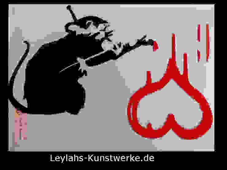 Banksy - Love Rat (schwarz/rot) von Leylahs-Kunstwerke