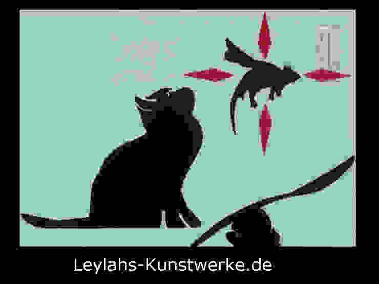 Banksy - Flying Rat (schwarz/rot) von Leylahs-Kunstwerke
