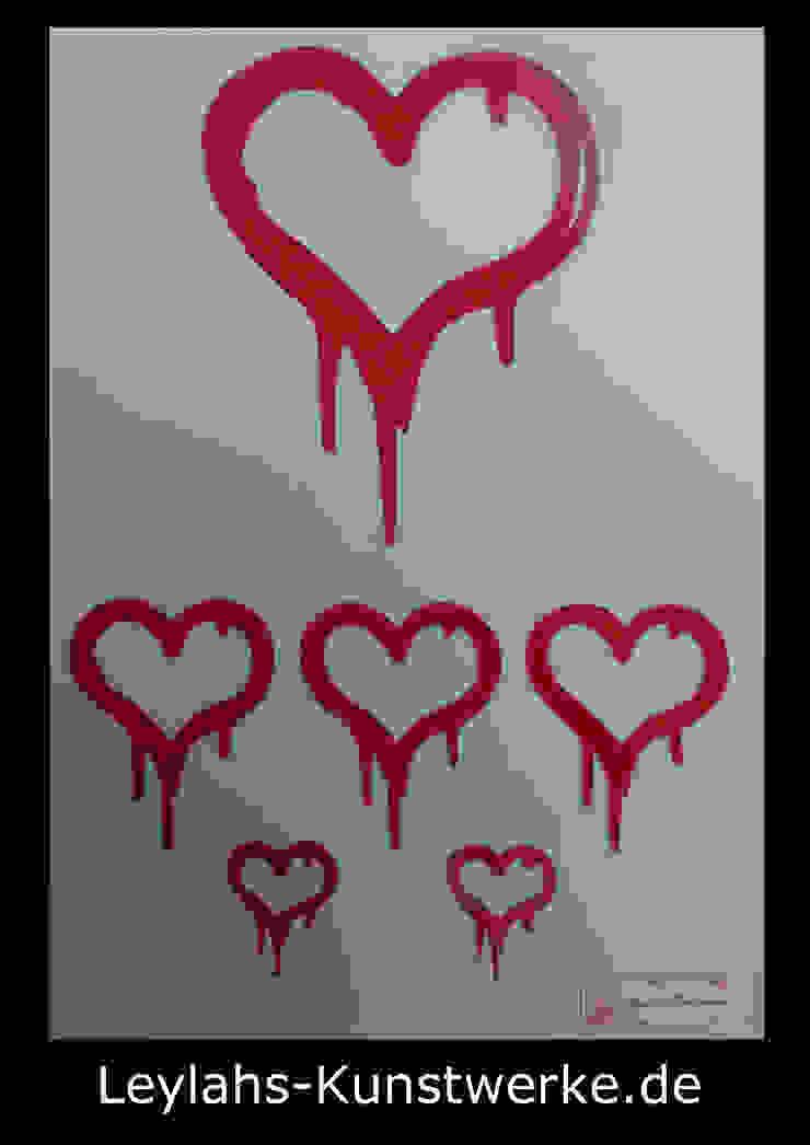 Banksy - 6 Hearts (rot) von Leylahs-Kunstwerke