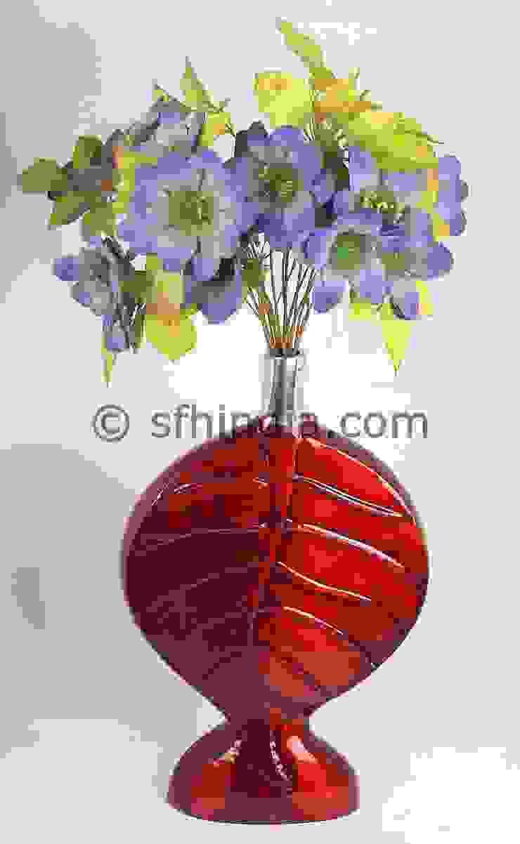 Red Enamel Glossy Vase by SUPER FINE HANDICRAFTS