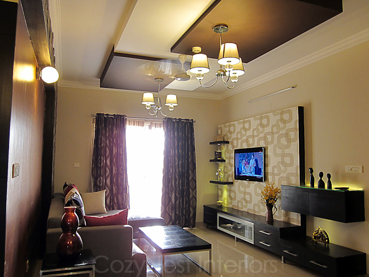 Ramamoorthy Residence Modern living room by Cozy Nest Interiors Modern