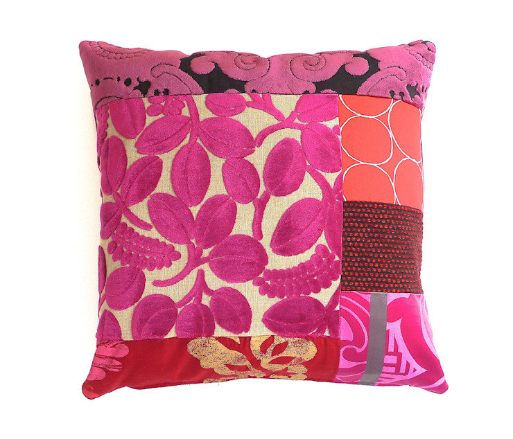 Beatrice Luxury Patchwork Cushion: eclectic  by Suzy Newton Ltd., Eclectic