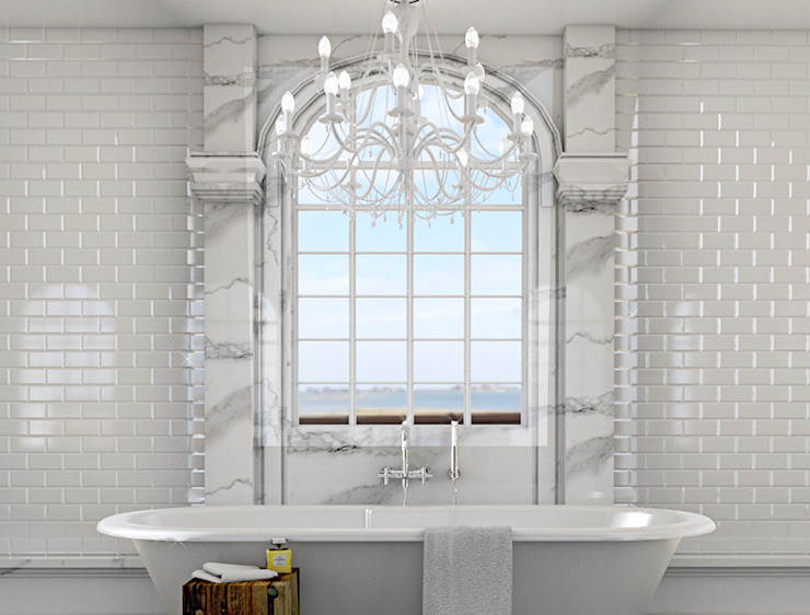 Classic bathroom 3d visual Baños de homify