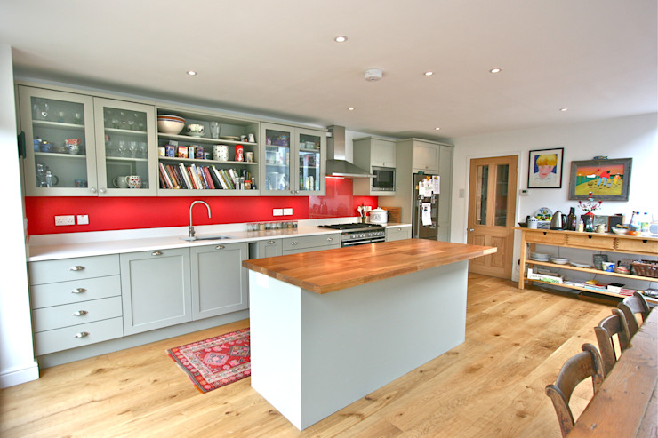Acton, London Laura Gompertz Interiors Ltd Cocinas de estilo moderno Madera Verde