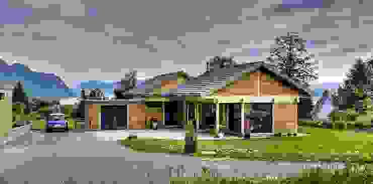 Vue de l'ensemble Maisons modernes par Tangentes Architectes Moderne