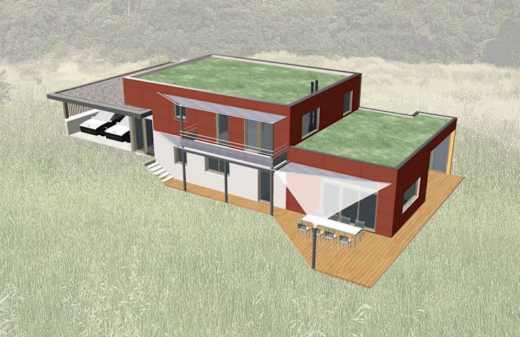 Vue 3d du projet Maisons modernes par Tangentes Architectes Moderne