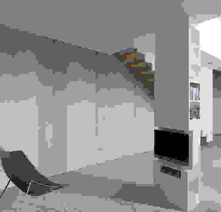Architektonische Realisierung eines Hauses mit Energiefassade Ausgefallene Wohnzimmer von boehning_zalenga koopX architekten in Berlin Ausgefallen