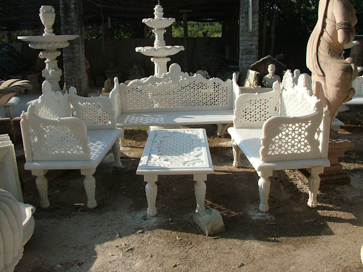 Traditional hand carved Marble sofa set Anzalna Trading Company สวนเฟอร์นิเจอร์