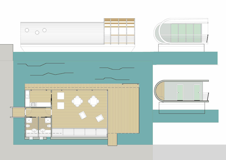 Floating house Yacht & Jet in stile moderno di Laura Marini Architetto Moderno