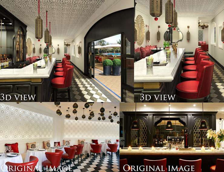 pool side bar 3d and real images of project Hoteles de estilo moderno de white owl works Moderno