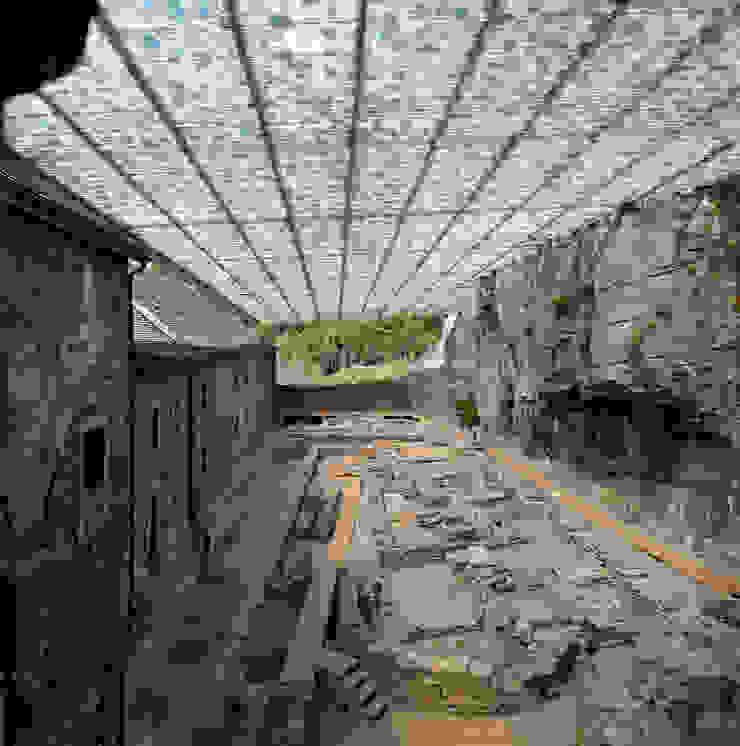 Couverture des ruines archéologiques de l'abbaye de St-Maurice par savioz fabrizzi architectes