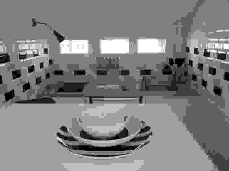 Cuisine carreaux métro Salon moderne par Emmanuelle Diebold Moderne