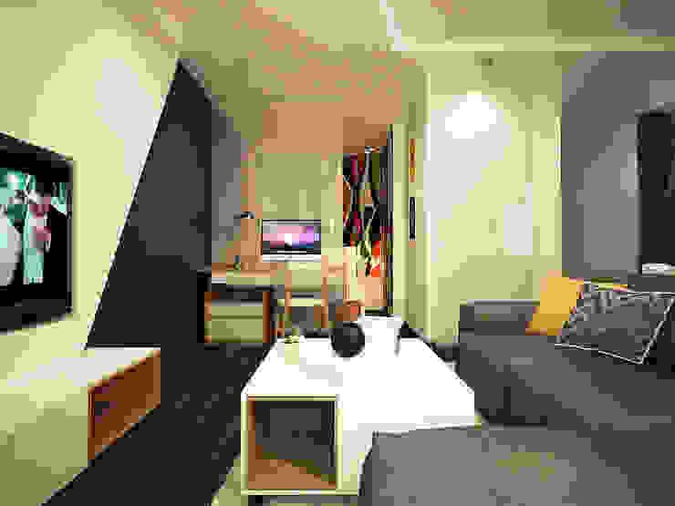 Дизайн однокомнатной квартиры. Гостиная в скандинавском стиле от Александра Петропавловская Скандинавский