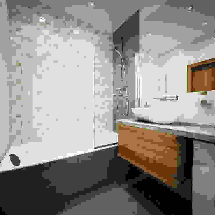Дизайн однокомнатной квартиры. Ванная комната в скандинавском стиле от Александра Петропавловская Скандинавский