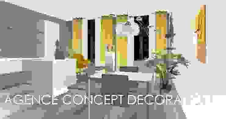 Rénovation appartement ancien Salon moderne par agence concept decoration Moderne