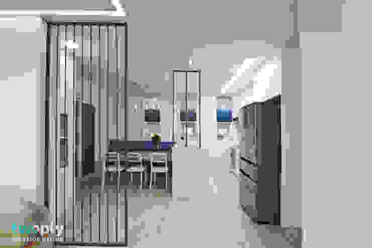 가족을 위한 단독주택 모던스타일 다이닝 룸 by 디자인투플라이 모던