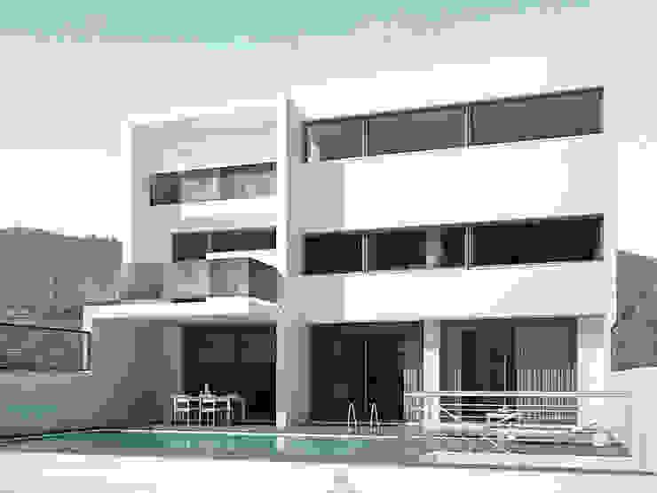 Imagen digital. Fachada de la parte trasera con la piscina y la terraza. La Pobla. Chiralt Arquitectos. Casas de estilo minimalista de Chiralt Arquitectos Minimalista