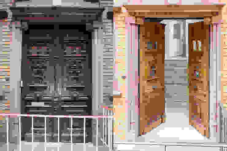 Das Eingangsportal vor und nach der Sanierung: modern  von Wohnwert Innenarchitektur,Modern