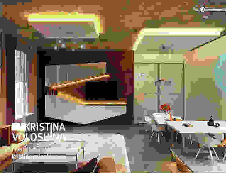 Квартира-студия в бионическом современном стиле. kristinavoloshina Столовая комната в стиле модерн